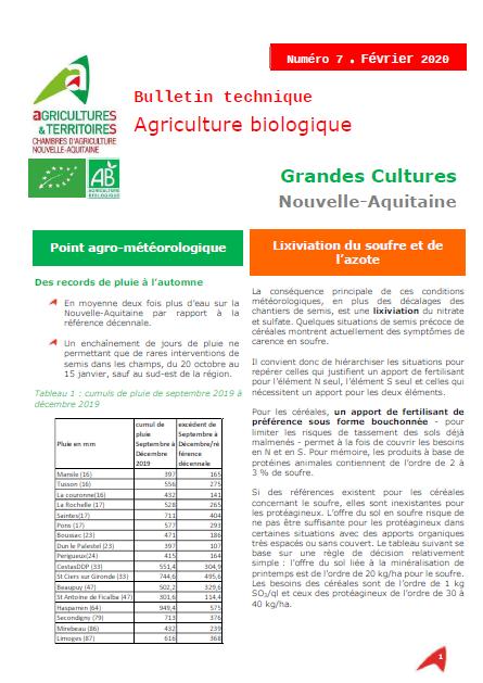Bulletin technique ab grandes cultures nouvelle aquitaine - Chambre d agriculture haute vienne ...